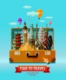 Viaggio, modello di progettazione di logo di vettore di vacanza Fotografie Stock Libere da Diritti