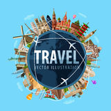 Viaggio, modello di progettazione di logo di vettore di viaggio mondo illustrazione di stock
