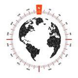 Viaggio nautico della bussola della mappa di mondo del globo La scala è di 360 gradi illustrazione vettoriale