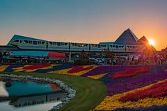 Viaggio nell'attrazione di immaginazione e paesaggio variopinto dei fiori sul bello fondo di tramonto a Epcot in Walt Disney Worl fotografia stock libera da diritti