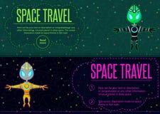 Viaggio nello spazio Illustrazione di vettore nello stile piano Immagini Stock Libere da Diritti