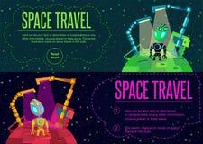 Viaggio nello spazio Illustrazione di vettore nello stile piano Immagini Stock