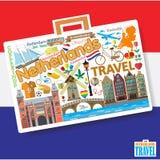 Viaggio olandese Fissi le icone ed i simboli di vettore nella forma di valigia Immagini Stock