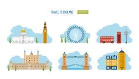 Viaggio piano di progettazione delle icone di Londra, Regno Unito Fotografie Stock Libere da Diritti
