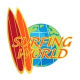 Viaggio praticante il surfing di vettore con il bordo di spuma ed il globo della terra Fotografia Stock Libera da Diritti