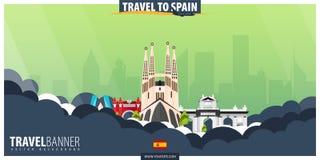 Viaggio in Spagna Viaggio e manifesto di turismo Illustra piano di vettore royalty illustrazione gratis