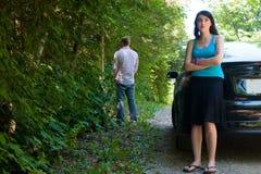 Viaggio stradale - catturare una perdita Fotografia Stock