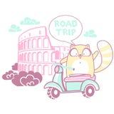 Viaggio stradale con un gatto Immagine Stock