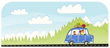 Viaggio stradale della famiglia di vacanza di estate Fotografia Stock