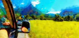 Viaggio stradale di viaggio dell'automobile libera di estate nel bello effetto della pittura del paesaggio e del computer della m fotografia stock