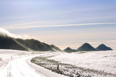 Viaggio stradale di inverno in Islanda Fotografie Stock