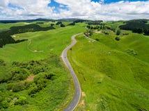 Viaggio stradale sulla collina di rotolamento nel Distretto di Rotorua, Nuova Zelanda Fotografia Stock Libera da Diritti