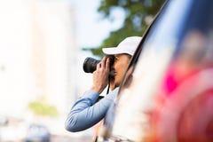 Viaggio stradale turistico femminile Immagini Stock