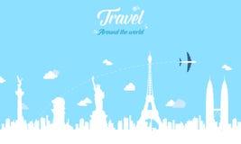 Viaggio sul mondo alla festa illustrazione di stock