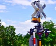 Viaggio tailandese, segno trasversale della ferrovia Immagini Stock Libere da Diritti