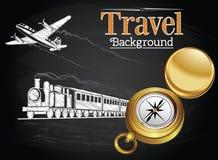 Viaggio tramite trasporto sui precedenti della lavagna Fotografia Stock