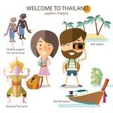 Viaggio turistico in Tailandia del sud illustrazione di stock
