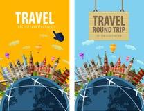 Viaggio, viaggio, modello di progettazione di logo di vettore di viaggio Immagini Stock Libere da Diritti