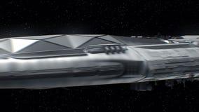 Viaja à terra, nave espacial da ficção científica que aproxima-se ao planeta, motores pulsa, a animação 3d A textura da terra foi ilustração stock