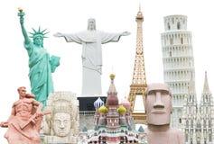 Viaja el aislante del concepto de los monumentos del mundo Imagen de archivo libre de regalías
