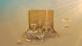 Viaja el concepto del monumento del mundo ilustración del vector