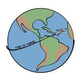 Viaja el ejemplo del mundo en fondo simple Foto de archivo