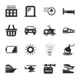 Viaja el sistema universal de 16 iconos para el web y el móvil Imagen de archivo libre de regalías