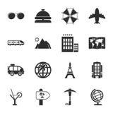 Viaja el sistema universal de 16 iconos para el web y el móvil Fotografía de archivo libre de regalías
