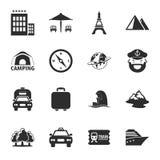 Viaja el sistema universal de 16 iconos para el web y el móvil Foto de archivo libre de regalías