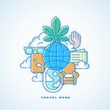 Viaja mais linha ilustração das férias do vetor do estilo com textura de intervalo mínimo Imagem de Stock Royalty Free