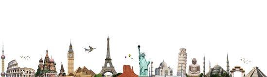 Viaja o conceito do monumento do mundo ilustração stock