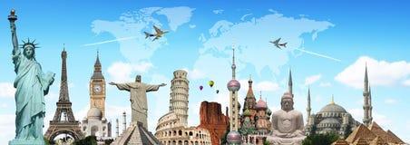 Viaja o conceito dos monumentos do mundo ilustração stock