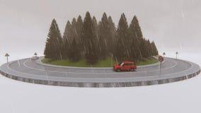 Viajando alrededor del bosque del pino, tiempo lluvioso almacen de video
