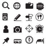 Viajando e ícones da silhueta do transporte ajustados Fotos de Stock