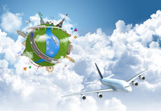 Viajando el globo del sueño del mundo ilustración del vector