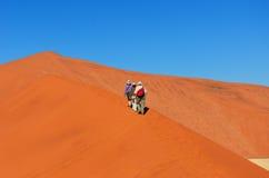 Viajando en África, gente en la duna Fotografía de archivo libre de regalías