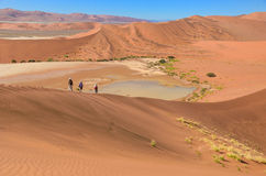 Viajando en África, gente en la duna Fotos de archivo
