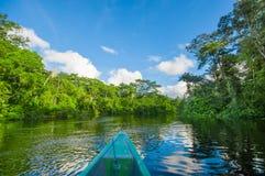 Viajando en barco en la profundidad de las selvas del Amazonas en el parque nacional de Cuyabeno, Ecuador imagenes de archivo