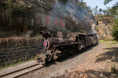 Viajando entre la ciudad de Leshan, las abejas del tren de Yan Yang de ka de Sichuan Qianwei al pequeño canola de la estación de  Foto de archivo libre de regalías