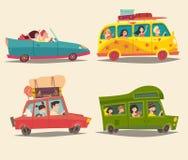 Viajando pelo carro, pelo cabriolet, pelo ônibus e pelo reboque com povos felizes Férias de verão, turismo Foto de Stock