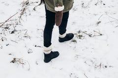 Viajante à moda que anda, sapatas elegantes do moderno no sn do inverno Imagens de Stock Royalty Free
