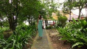 Viajante asiático bonito da mulher que anda ao longo do trajeto na selva vídeos de arquivo