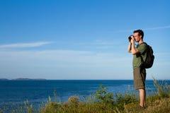 Viajante com a trouxa Fotografia de Stock Royalty Free