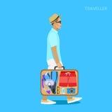 Viajante com uma mala de viagem das coisas Imagem de Stock