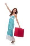 Viajante da mulher com a mala de viagem isolada Foto de Stock