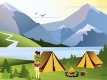 Viajante de acampamento da menina da ilustração lisa do vetor Fundo da natureza com grama, floresta, montanhas e montes outdoor ilustração royalty free