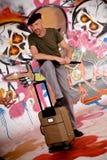 Viajante de bilhete mensal do homem, grafitti urbano Imagens de Stock