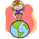 Viajante desenhado mão dos desenhos animados Foto de Stock Royalty Free