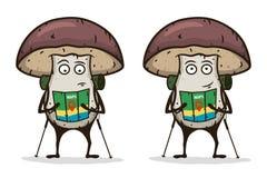 Viajante do cogumelo com um mapa e um polo trekking Personagem de banda desenhada Ilustração do vetor Imagens de Stock