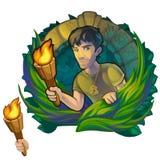 Viajante do homem no Maya das madeiras Expedição científica ilustração do vetor